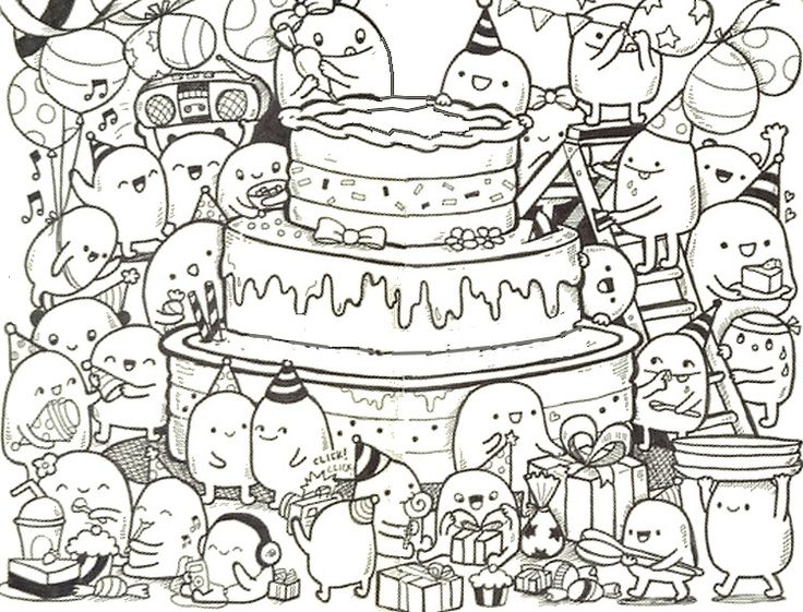 Adult coloring page Happy Birthday : Doodle cake 9