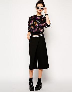Monki Wrap Front Shankle Pants - Black