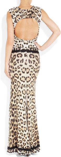 Roberto Cavalli Cutout Leopardprint Stretchjersey Gown in Animal (leopard) | Lyst