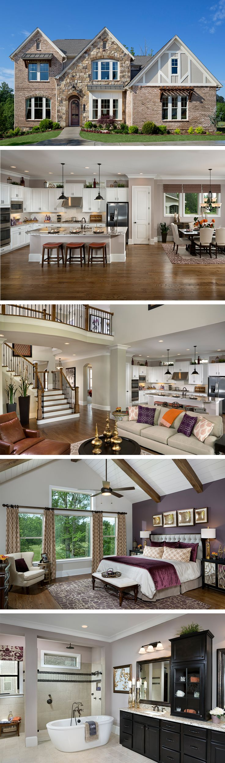 The Richwood by David Weekley Homes in The Reserve at Old Atlanta features high ceilings with rustic beams, an open kitchen space and ample parking space in a 2 1/2 car garage. This layout has serval stunning plan options like a covered porch, an extended owners retreat and an indoor fireplace.