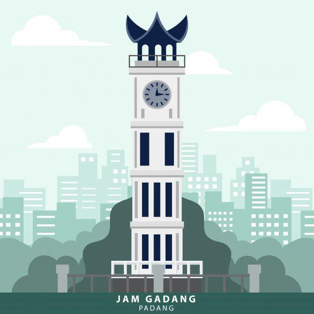 indonesia padang jam gadang landmark in 2020 padang minangkabau travel wall art indonesia padang jam gadang landmark in