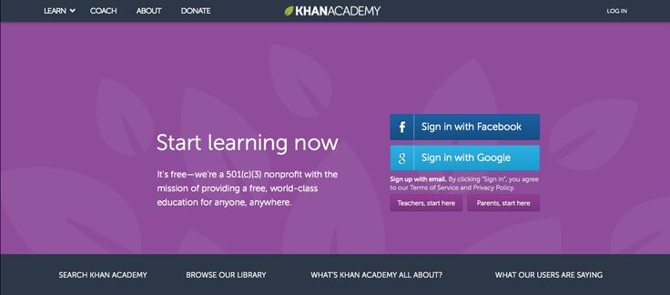 Awesome Khan Academy Landing Page
