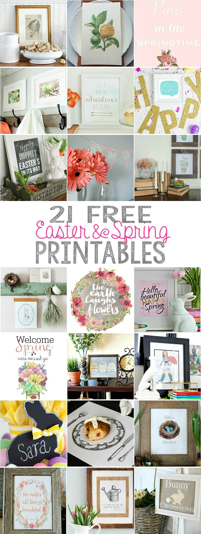21 free Easter and Spring Printables featured on Ella Claire