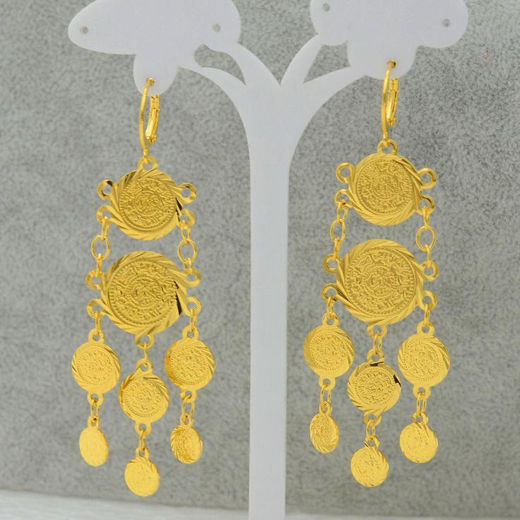 Mteal Монета Серьги для Женщин Цвета Золота Ювелирные Изделия Женщины/Девушки, Оптовая Длинные Серьги Монеты Арабские Символ богатство #056706