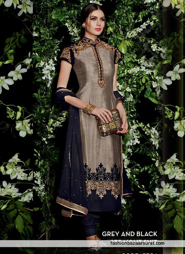 Markable grey and black straight salwar suit