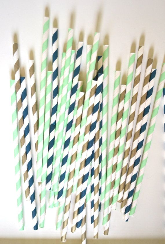 Mint Navy and Gold Paper Straws, Wedding supplies, Party favors, Drinking Straws, Cake Pops, Pixie Stix on Etsy, $1.59