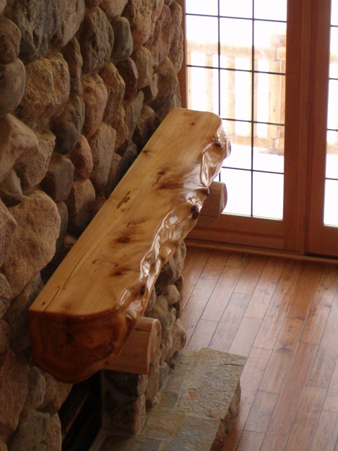 Log or timber mantel from kiln-dried northern white cedar !