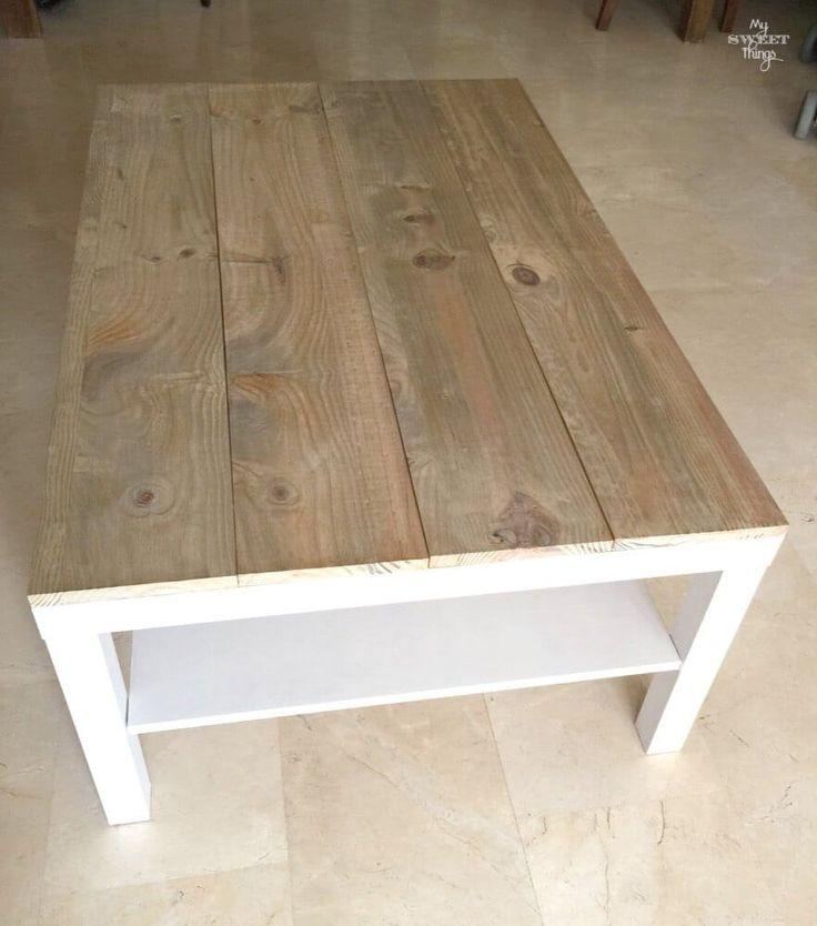 Tuneo de una mesa de centro Ikea Lack con madera y tinte