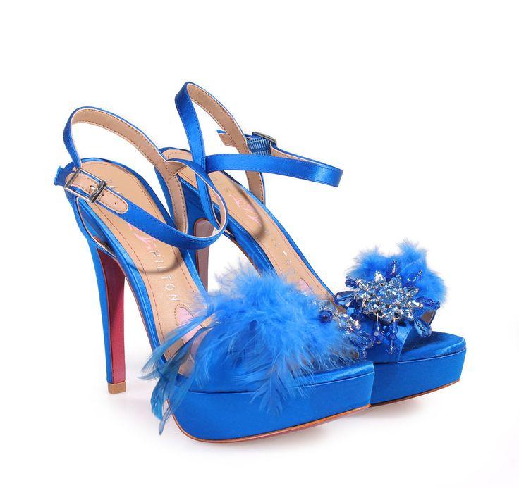 PARIS HILTON Royal blue Bridal Satin High-heeled Sandals. Γυναικεία μπλε σατέν νυφικά πέδιλα.