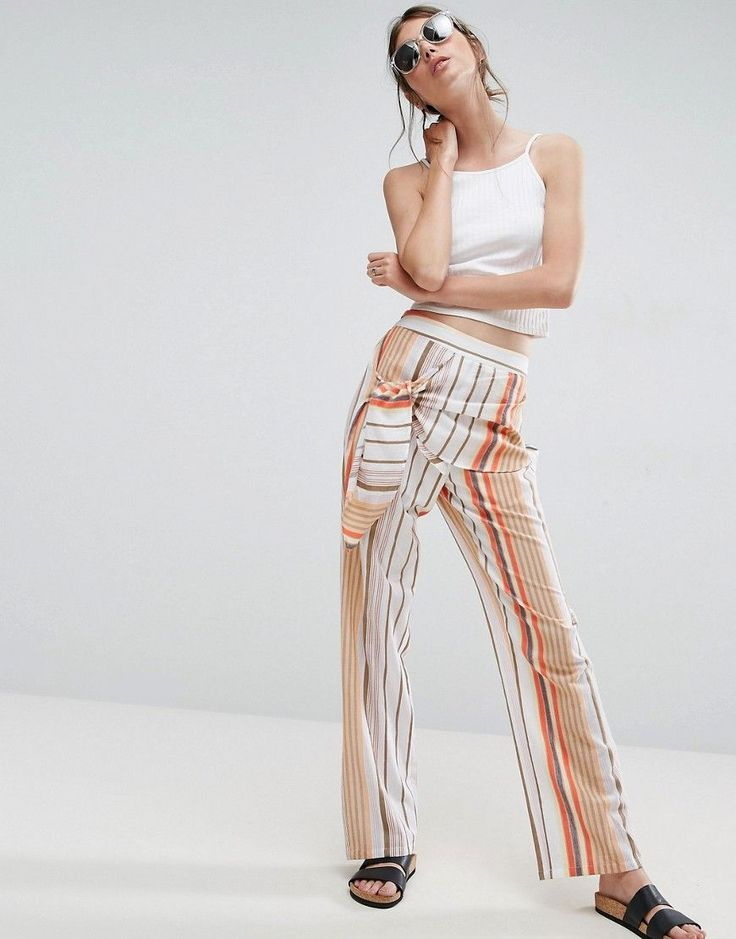ASOS Tie Side Striped Peg Pants - Multi