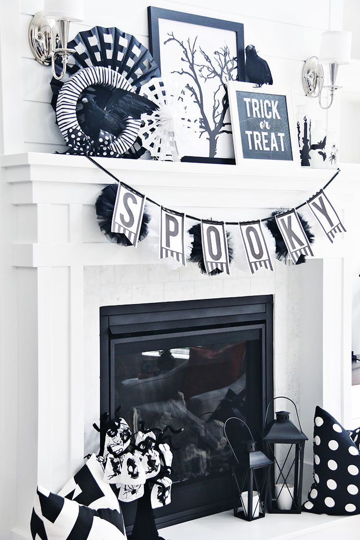 Pretty black and white Halloween decor for your mantle this year! The perfect DIY tutorials for an awesome black and white Halloween mantle for October!