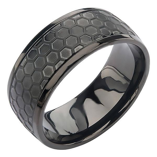 Black Grille Ring Final Sale Stainless Steel Onyx Brushed 3 8 Band Rings For Men Titanium Jewelry Men S Rings