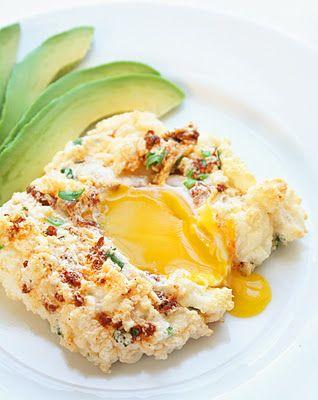 Eggs in a Cloud (w/ Soy Chorizo, Cilantro & Manchego)