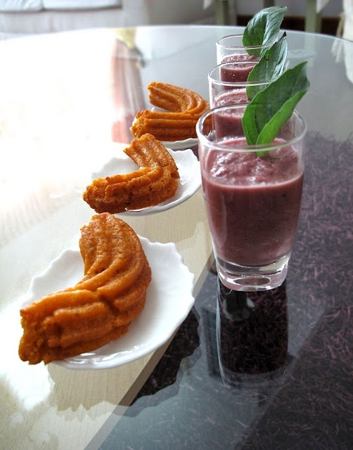 Sweet Red Cabbage Gazpacho, used here as a dip for spicy churros: blend together soft, ripe black plums, red cabbage strips, cucumber, garlic, fresh basil with olive oil and freshly squeezed lemon juice