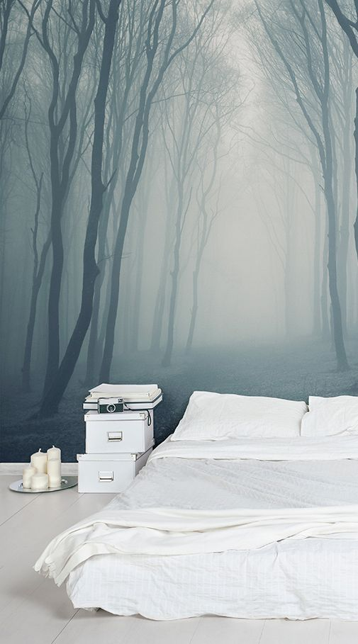cf2310de3cd3 If you are after a unique mural that has an air of mystery surrounding it  you should look no further than at our Grey Mist Forest Mural Wallpaper.