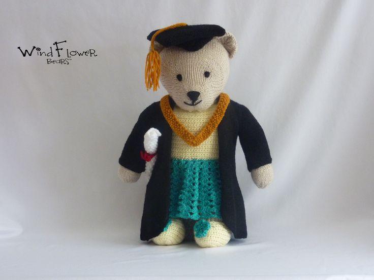 Windflower Bear, CYPHEL. Handmade bear. #graduation #graduationgift #giftideas #teddybear #handmade #knitting #gifts #cute