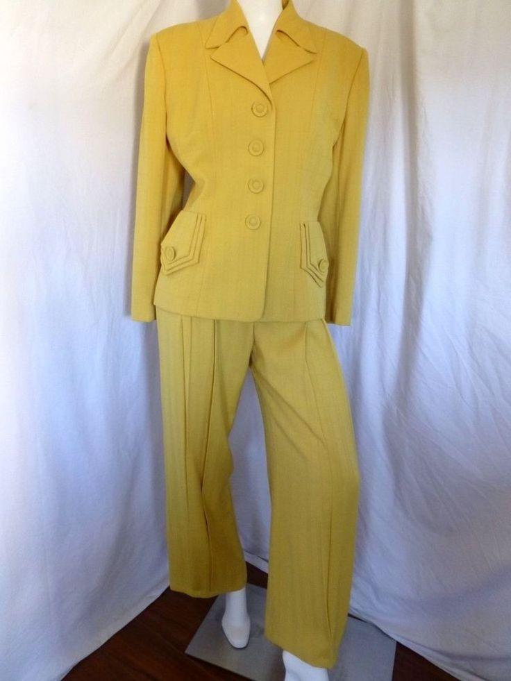 Vintage Norma Kamali Mustard Yellow Pant Suit Mint