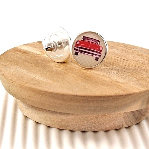Vintage red Lincoln car #handmade #earrings