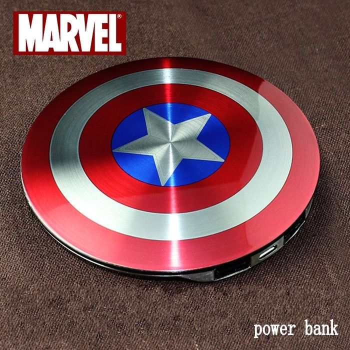 Specifications: Type: Emergency / Portable Compatible Brand: all brands Battery Capacity(mAh): 9001-10000 Design: Captain America Power Bank Applicable on: - Apple, Samsung / HTC / smart mobile phone,