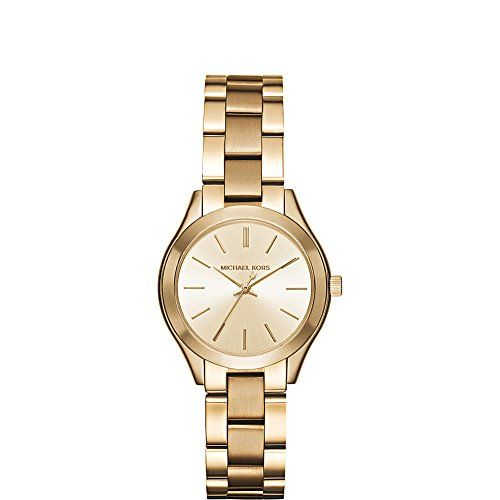 Michael Kors Womens Mini Slim Runway GoldTone Watch MK3512 *** Click image for m...