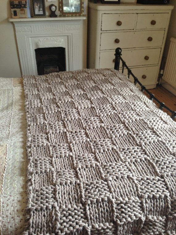 Chunky  Light Coffee Hand Knitted Blanket / Double and King Size Bed Throw on Etsy, £68.00