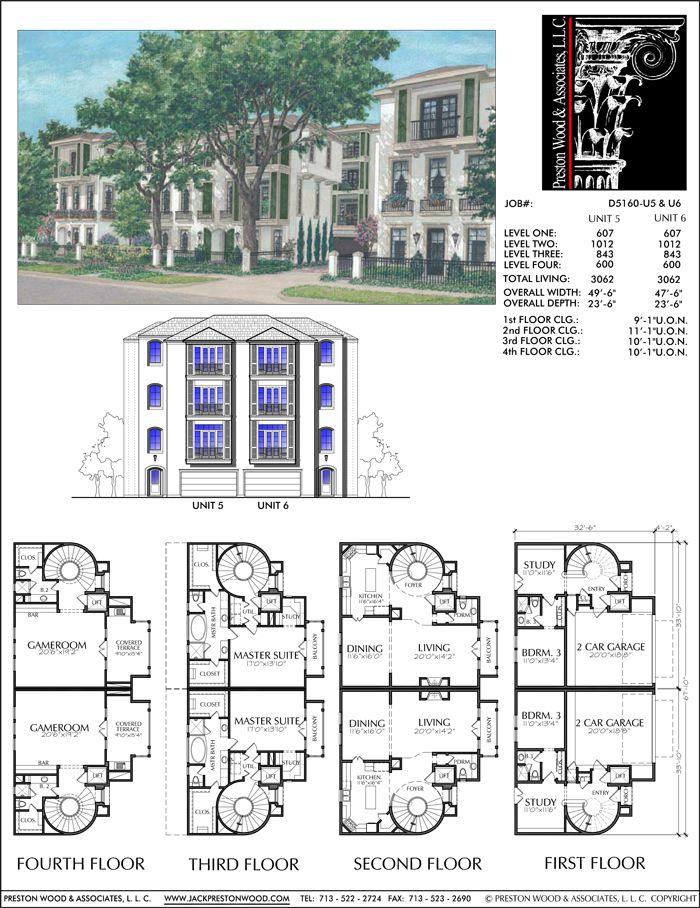 Delightful Duplex Townhouse Floor Plans #8: Duplex Townhouse Plan D5160 U5u0026u6
