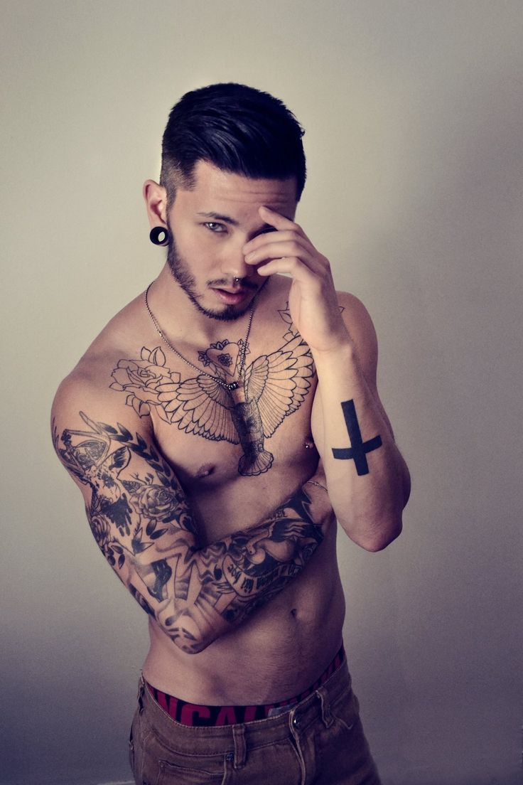 Evil tattoo kalisz piercing - Model Tattoos Inked Asian Male Model Shirtless Abs Pecs Gauges Necklace Chest Piece Calvin Klein Beard Nipples Edgy Septum Nipple Full Sleeve Chest Tattoo