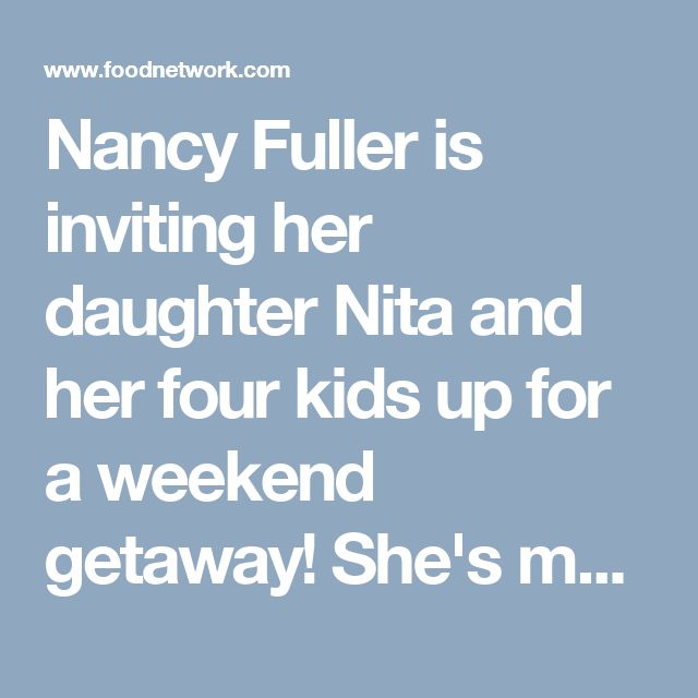 Nancy Fuller is inviting her daughter Nita and her four kids up for a weekend getaway! She's made up the attic above the kitchen for the kiddos to bunk in while she cooks up a meal of Sausage-Stuffed Zucchini Boats, Dressed Up Grilled Cheese, and Loaded Baked Potato Soup that will leave them all smiles, especially when they see the dessert ... Sweet Cherry Pie with Sprinkled Ice Cream Scoops!