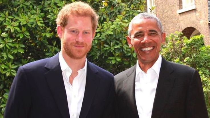 Prince Harry welcomed Barack Obama at Kensington Palace in London on Saturday during the former President's latest stop in Europe.