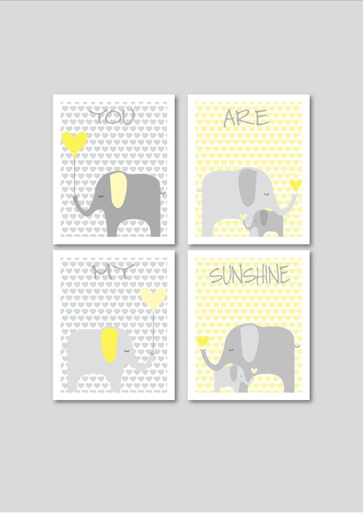 Elephants printable nursery art, instant download, elephant nursery decor, grey and yellow nursery decor, hearts nursery art. £12.00, via Etsy.