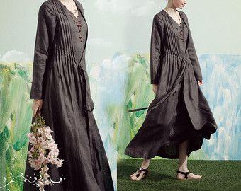 Lino Gown Dress in Black / abito da damigella di camelliatune