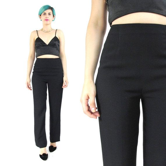 Vintage Black Trousers High Waisted Trousers by honeymoonmuse