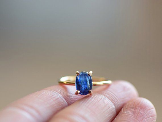Gift For Her Natural Kyanite Ring Lovely Stone Ring Yellow Gold Plated Ring Three Stone Ring Pretty Ring Raw Gemstone Ring