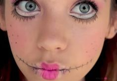 Simple Halloween makeup ideas DIY halloween make up creepy doll makeup ideas fake stitches