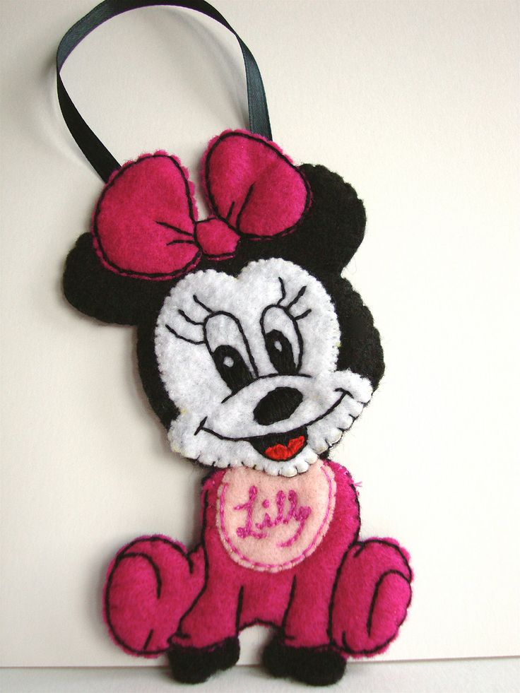 Baby Minnie Mouse Disney Felt ornament (personalized). $20.00, via Etsy. (LexiFeltique)