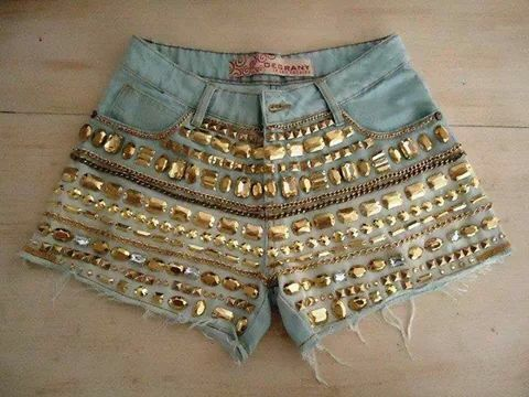 #Short#customizado#pedrinhas#josii