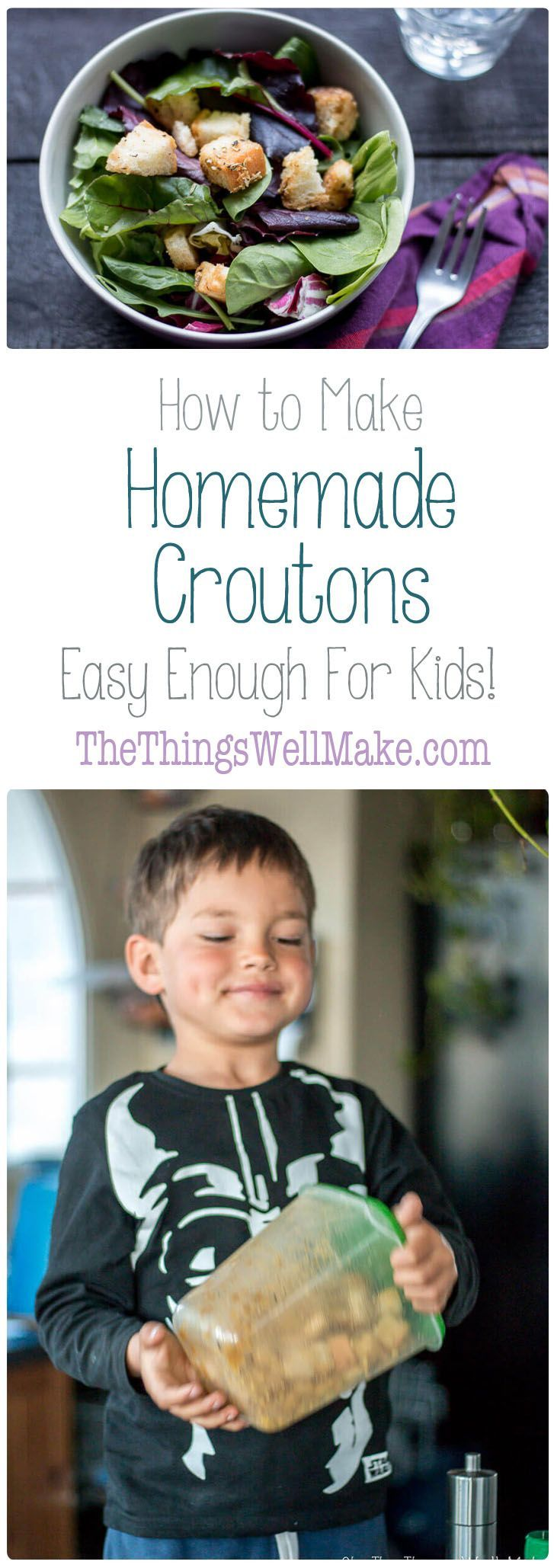 Don't let your stale bread go to waste!My young son and I will show you how to make homemade croutons from bread. It's so easy that it's a great beginner recipe for kids! via @thethingswellmake