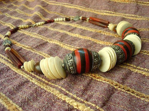Vintage Afghan oversize ethnic necklace 1980s
