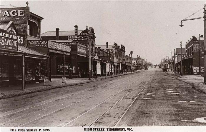 Darebin Heritage - High Street, Thornbury looking north from Normanby Avenue circa 1920s