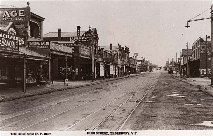 Darebin Heritage - High Street, Thornbury looking north from Normanby Avenue circa 1920s