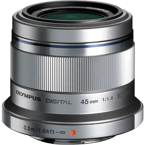 Olympus 45mm f/1.8 Silver Micro 4/3 Lens DSLR Lenses Micro Four Thirds V311030SU000 - Vistek Canada Product Detail