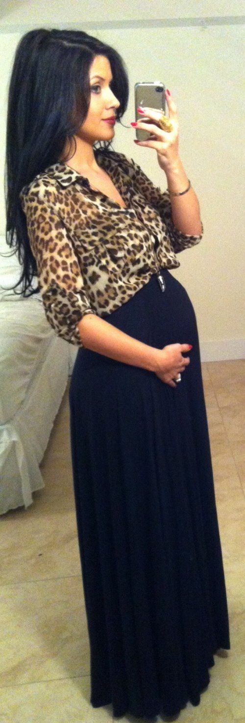 Adorable maternity outfits, leopard design top and black maxi skirt... click on picture for more fashions