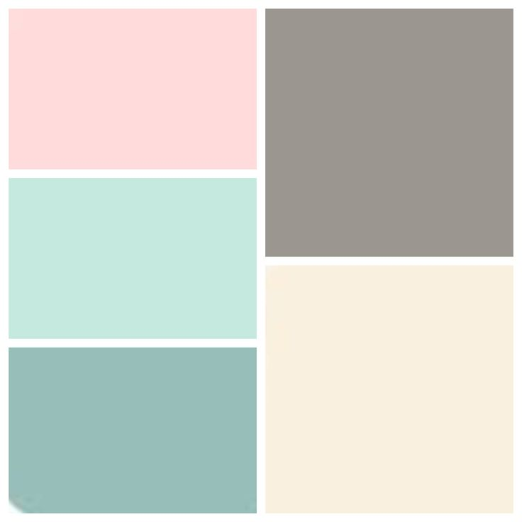 Dusty teal, dusty Aqua, pink blush, muted gray and soft ivory!! My color scheme!! More