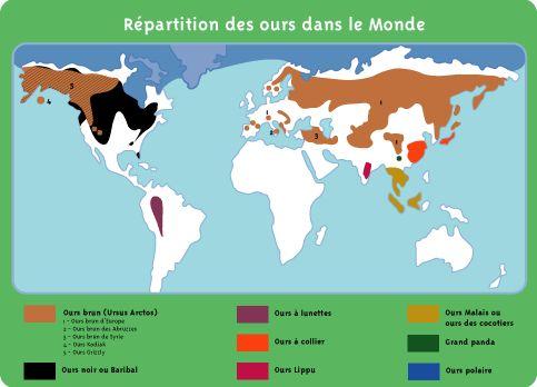 Carte de r partition des ours dans le monde ours bruns for Se balader dans les yvelines