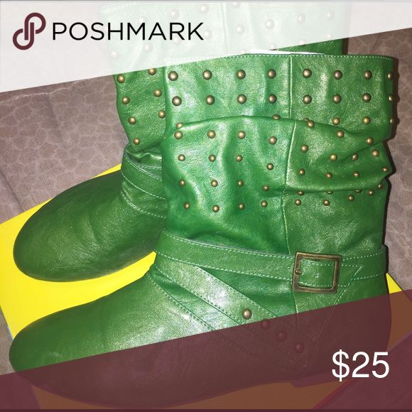 Apple green studded ankle boots Size 10 Miss Me gently used studded apple green ankle boots. Shoes Ankle Boots & Booties