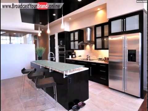 Schwarze Küche Kochinsel Pendelleuchten Glas Holz   YouTube