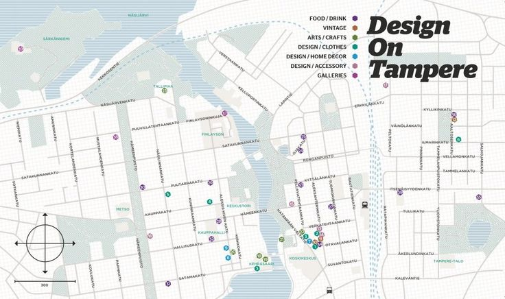DOT DesignOnTampere kartta 2014. Map of design locations in Tampere Finland.