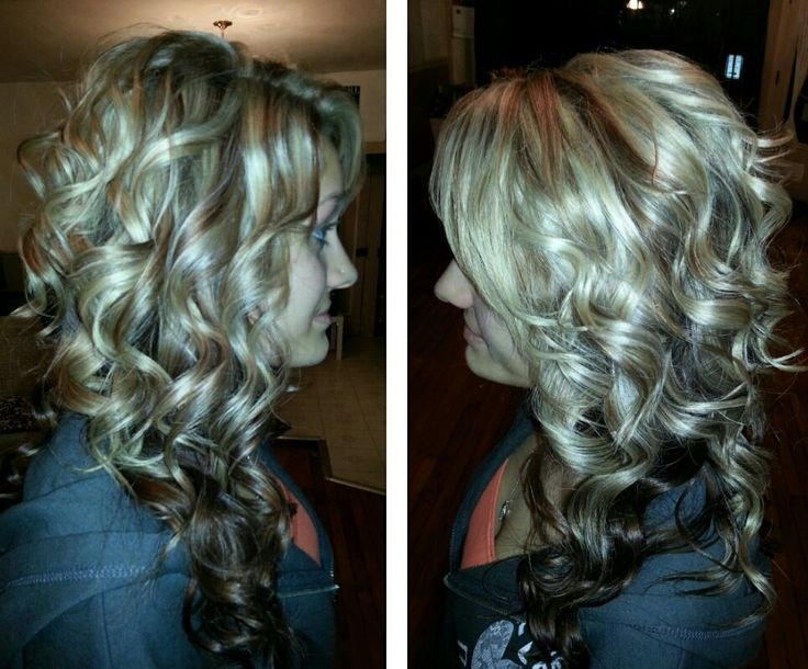 Curly long hair blonde highlights and lowlights dark ...