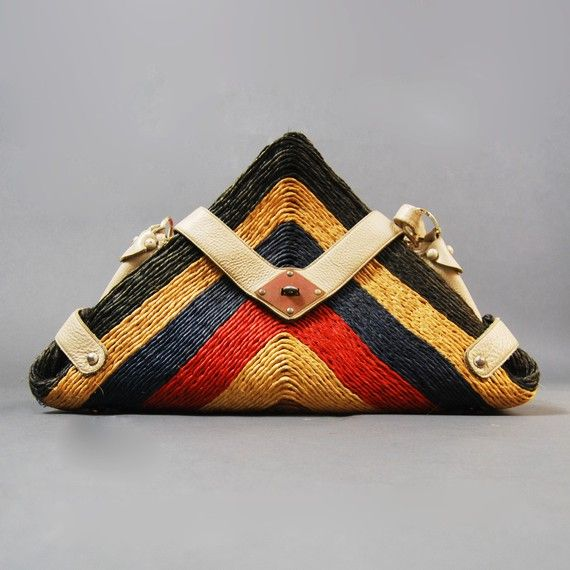 vintage triangle leather and straw tote