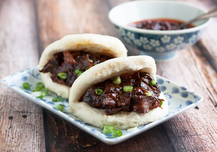 Char siu bao with slow-cooked pork! Might try this recipe for the pork, but with different types of bread.
